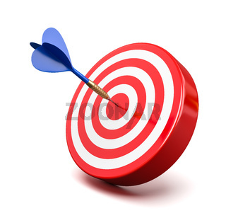 Blue Dart Hitting a Red Target on the Center