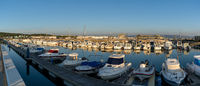 panorama view of the marina and harbor in Barbate at sunset