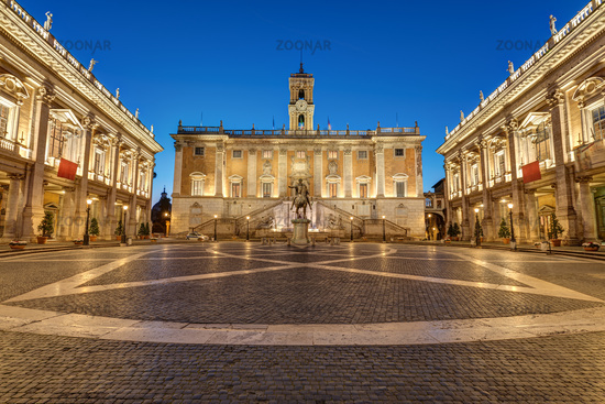 The Piazza del Campidoglio on the Capitoline Hill in Rome at night