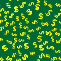 Dollar Icon Seamless Pattern Isolated on Green Background
