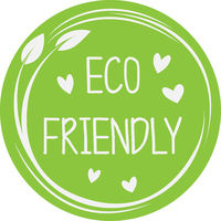 circular green eco friendly sticker or label with leaves and heart icons