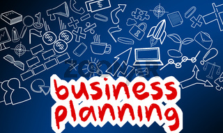Business planning text with creative drawing for success concept