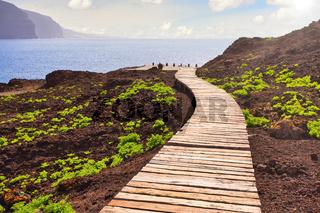 Dieser Holzbohlenweg führt auf der Kanareninsel Teneriffa am Punta de Teno zum Meer