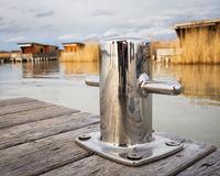 Steel bollard on a jetty on Lake Neusiedlersee