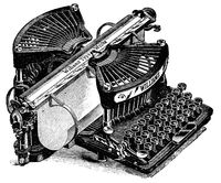 Typewriter Williams. Illustration of the 19th century. White background.