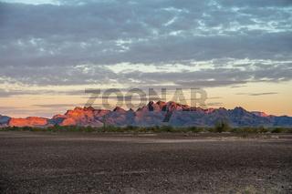 An overlooking view of nature along Quartzsite, Arizona