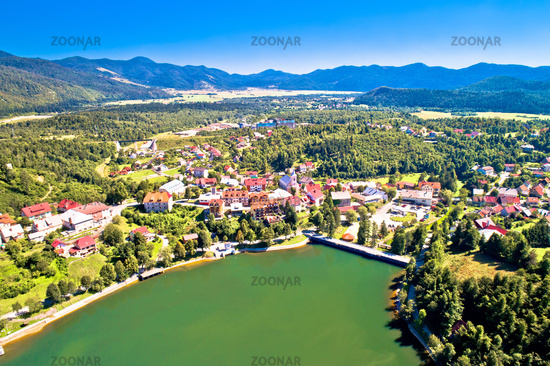 Picturesque mountain town of Fuzine on Bajer lake aerial view