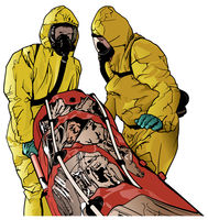 Medical Workers in Protective Suits with Stretcher