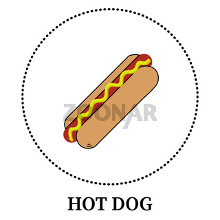 Realistic hot dog on white background - Vector