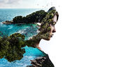 Double multiple exposure digitally generated photography. Portrait side profile view face of woman combined with a rocky coast, turquoise green bright sea waters and flock of flying birds background