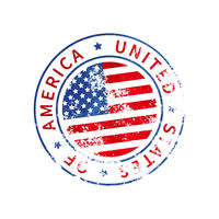 USA sign, vintage grunge imprint with flag on white