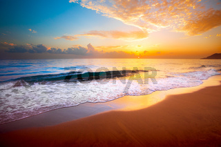 beautiful tropical sunset and sea