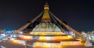 Boudhanath stupa illuminated for Losar in Kathmandu
