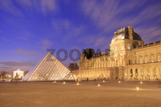 Musee du Louvre at dusk