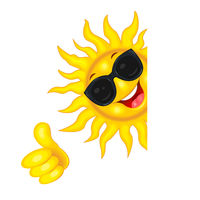 The sun in sunglasses wishes good luck