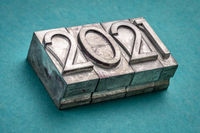 2021 year in vintage, gritty letterpress metal type