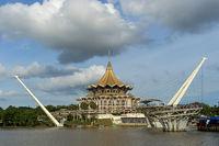 Sarawak State Legislative Assembly Building at the Sarawak river, Kuching, Sarawak, Borneo, Malaysia