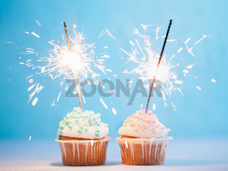 Two cupcakes decorated with sparklers