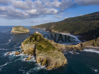 Aerial view of the Gaztelugatxe island in Spain