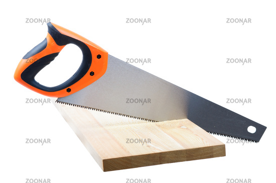 An image of hand saw on white background