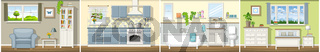 Illustration with four classic residential interiors, panorama