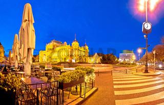 Zagreb. Republic of Croatia square advent evening panoramic view
