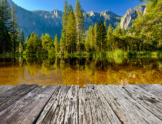 Cathedral Rocks reflecting in Merced River at Yosemite