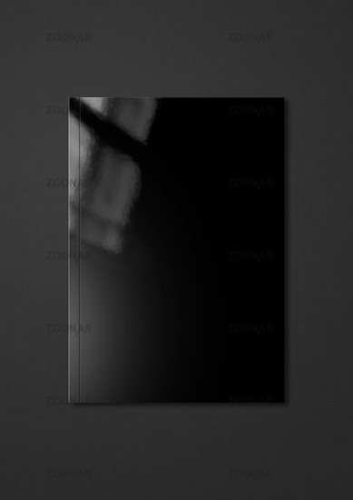 Black Booklet cover template on dark gray background