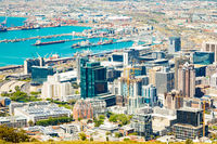 Elevated view of Cape Town Harbor Port and Central Business District