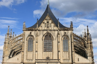 St. Barbara cathedral facade in Kutna Hora