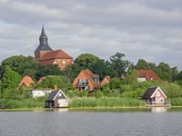 Cityscape of Sternberg with church and lake, Mecklenburg-Western Pomerania, Germany