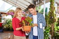 Glückliches Paar kauft in Gärtnerei