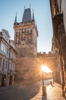 Charles bridge at sunrise, Old Town bridge tower, Prague UNESCO, Czech republic, Europe - Old town