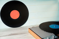 Vinyl record and vintage record player