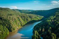 Summer landscape - South Bohemian countryside. River Vltava in late summer time. Czech republic.
