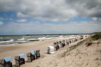 View over a beach on the Baltic Sea with beach chairs