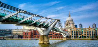 St. Paul's Cathedral across Millennium Bridge in London, UK