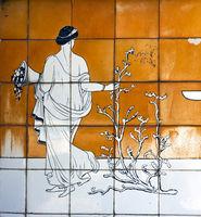 Majolica panel depicting bathing