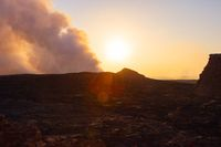 Sunrise at Erta Ale volcanic crater, Ethiopia