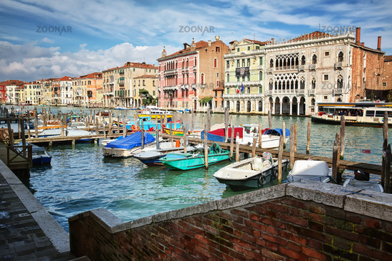 Panoramic view of Canal Grande in Venice