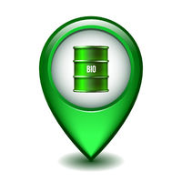 Green Glossy Style Map Pointer With Green oil barrel.