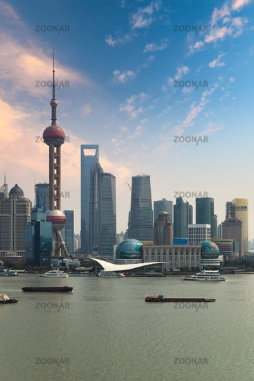 shanghai skyline with sunset