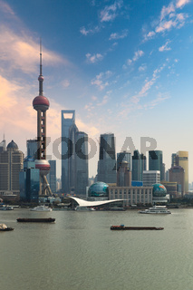 shanghai skyline with sunset