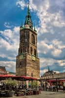 Halle Saale, Germany - June 17, 2019 - market square with red tower