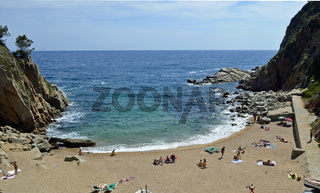 Sunny image of the spanish beach ocean and cliffs in the nature.