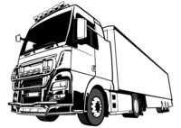 Black and White Lorry Big Rig Truck