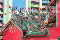 Intricate rooftop dragons of he Hong San Si Temple in Kuching, Malaysia
