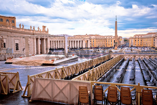 Saint Peter square in Vatican city street view