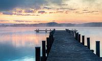 Dawn at Lake Woerthsee, Bavaria, Germany,