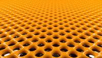 Glossy orange metal grid background, 3d rendering